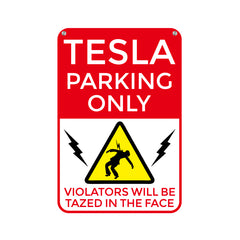 Funny Tesla Parking Garage Sign for Tesla Model S Model X Model 3 - TAPTES