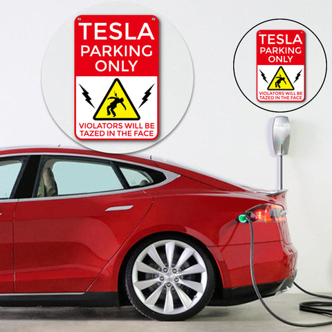 Funny Tesla Parking Garage Sign for Tesla Model S Model X Model 3