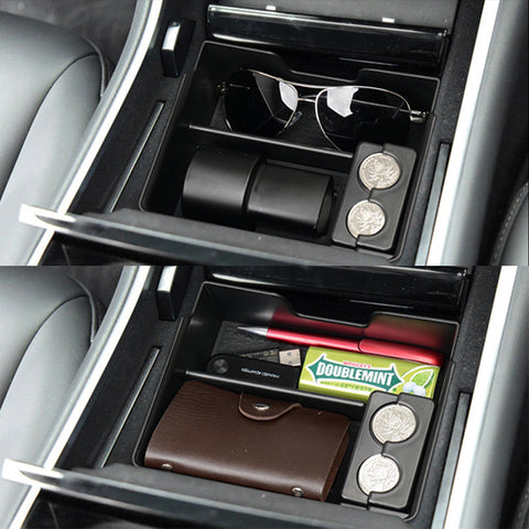 Upgraded Center Console Tray for Tesla Model 3, Collects Charger Adapter