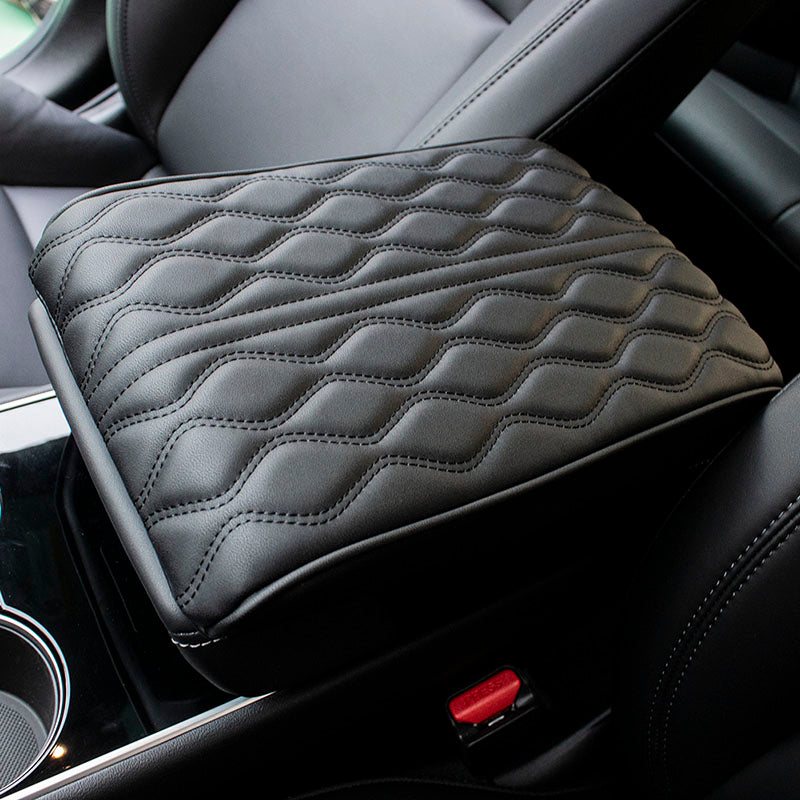 Synthetic Leather Arm Rest Cushion for Tesla Model 3, Black - TAPTES