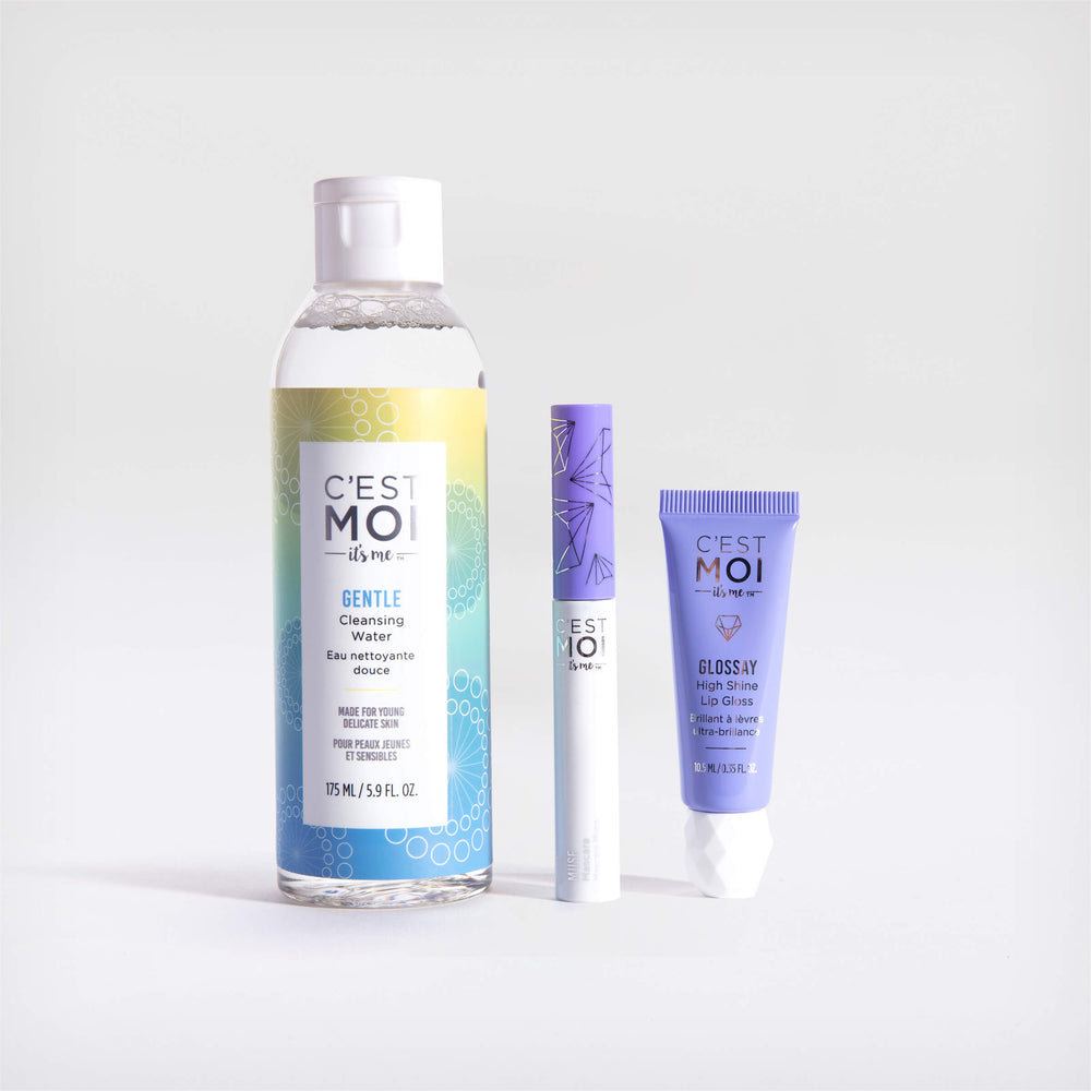The essentials set - cleansing water, muse mascara, glossay lip gloss