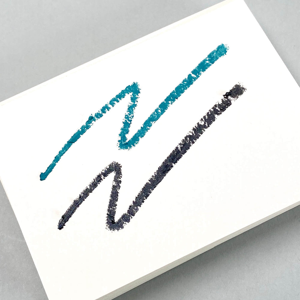 Load image into Gallery viewer, Think Twice Dual eyeliner - Matte Teal and Metallic Black swatches