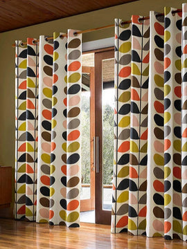DUCK CURTAIN WITH LINING PAIR-MULTI STEM