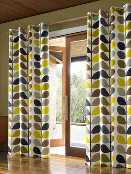 DUCK CURTAIN WITH LINING PAIR-MULTI STEM CREAM