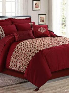 MAROON EMBROIDERED  BED SET COTTON SATIN 8PCS-QUEEN TC-400