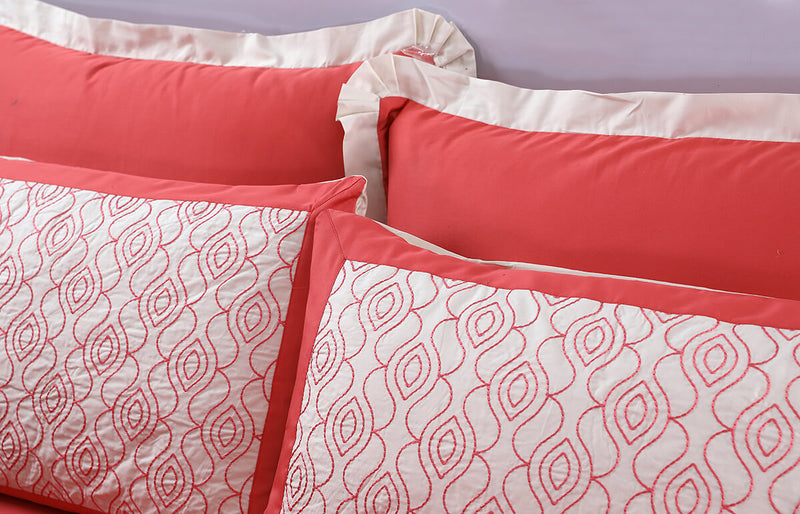 PINK EMBROIDERED  BED SET COTTON SATIN 8PCS-QUEEN TC-400 WITH 2 FREE FILLED PILLOWS