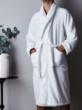 PREMIUM COTTON BATHROBE-WHITE - PRIMAL