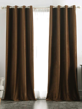 PREMIUM VELVET CURTAINS PAIR-CHOCOLATE BROWN