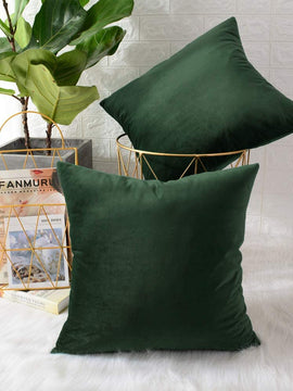 LUXURY VELVET CUSHIONS PACK OF 2-DARK GREEN