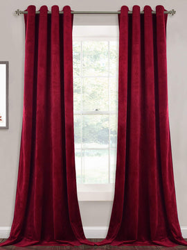PREMIUM VELVET CURTAINS PAIR-MAROON