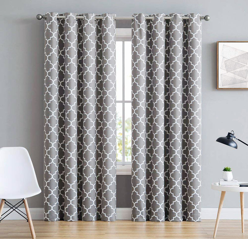 DUCK CURTAIN WITH LINING  PAIR -GREY