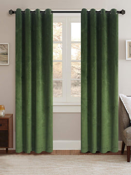 PREMIUM VELVET CURTAINS PAIR-GREEN