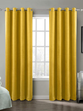 PREMIUM VELVET CURTAINS PAIR-YELLOW