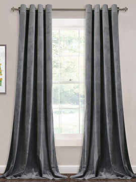 PREMIUM VELVET CURTAINS PAIR-GREY