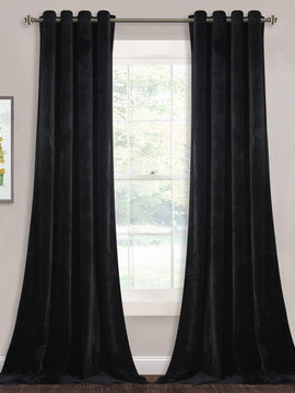 PREMIUM VELVET CURTAIN PAIR-BLACK