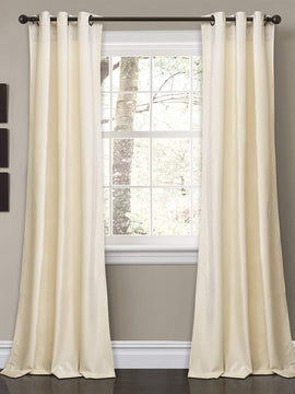PREMIUM VELVET CURTAINS PAIR-IVORY