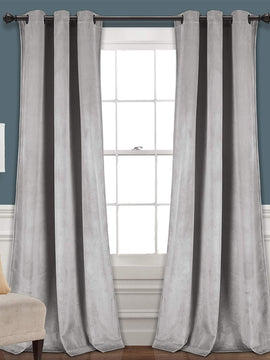 PREMIUM VELVET CURTAINS PAIR-LIGHT GREY