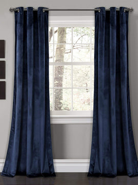 PREMIUM VELVET CURTAINS PAIR-NAVY BLUE