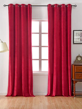 PREMIUM VELVET CURTAINS PAIR-RED