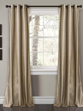 PREMIUM VELVET CURTAINS PAIR-BEIGE