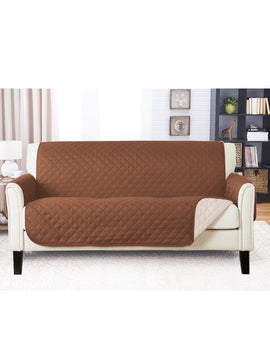 SOFA COVER-CHOCOLATE BROWN WITH FREE TOWEL
