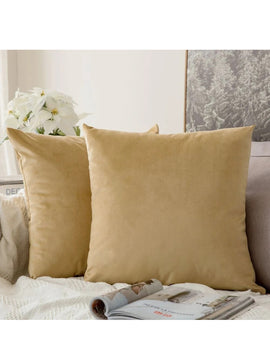 LUXURY VELVET CUSHIONS PACK OF 2-BEIGE