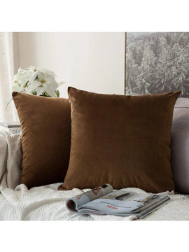 LUXURY VELVET CUSHIONS PACK OF 2-BROWN