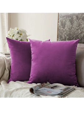LUXURY VELVET CUSHIONS PACK OF 2-PURPLE