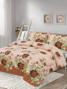 COTTON BED SHEET 3PCS- FLORAL BROWN
