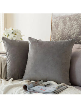 LUXURY VELVET CUSHIONS PACK OF 2-GREY
