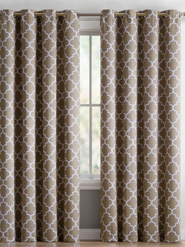 DUCK CURTAIN WITH LINING  PAIR-BEIGE