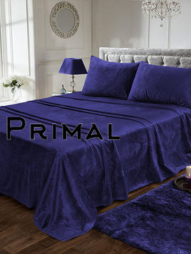 LUXURY VELVET BED SHEET 3PCS-NAVY BLUE