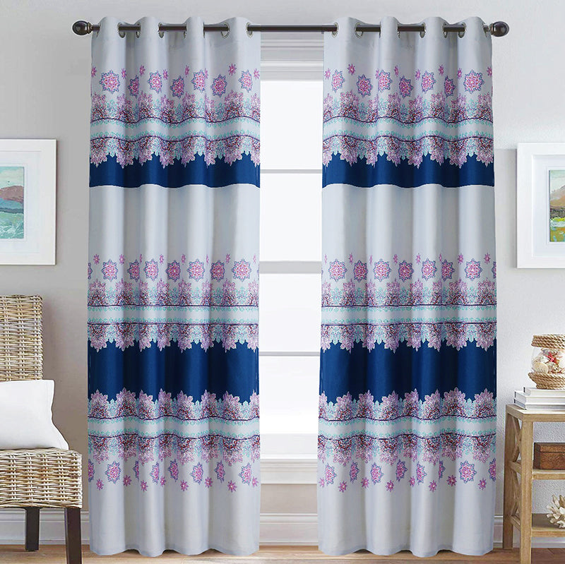DUCK CURTAIN WITH LINING PAIR-BLUE TEXTURE