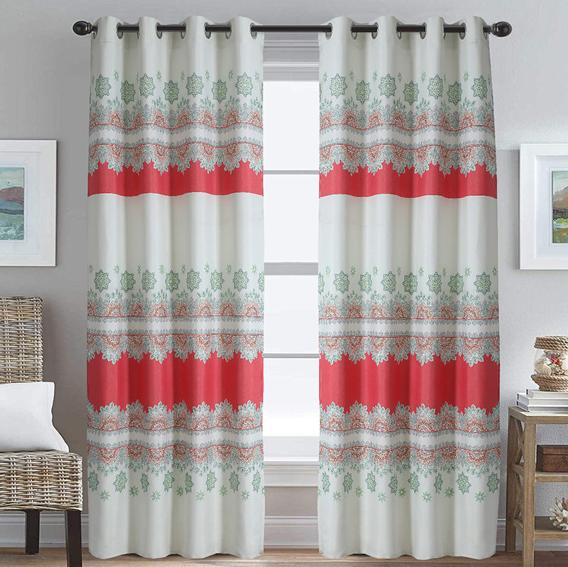 DUCK CURTAIN WITH LINING PAIR -ORANGE TEXTURE