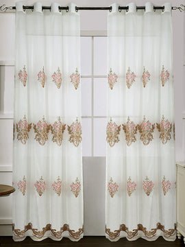 NET CURTAIN EMBROIDERED PAIR-OFF WHITE