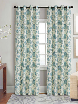 DUCK CURTAIN WITH LINING PAIR -FLORAL
