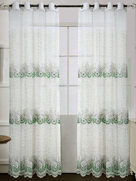 NET CURTAIN FULL EMBROIDERED PAIR-WHITE