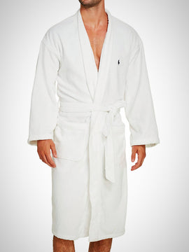 PREMIUM SOFT VELOUR COTTON BATHROBE LARGE-WHITE - PRIMAL
