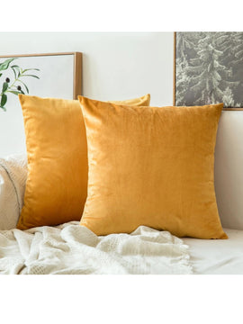 LUXURY VELVET CUSHIONS PACK OF 2-YELLOW