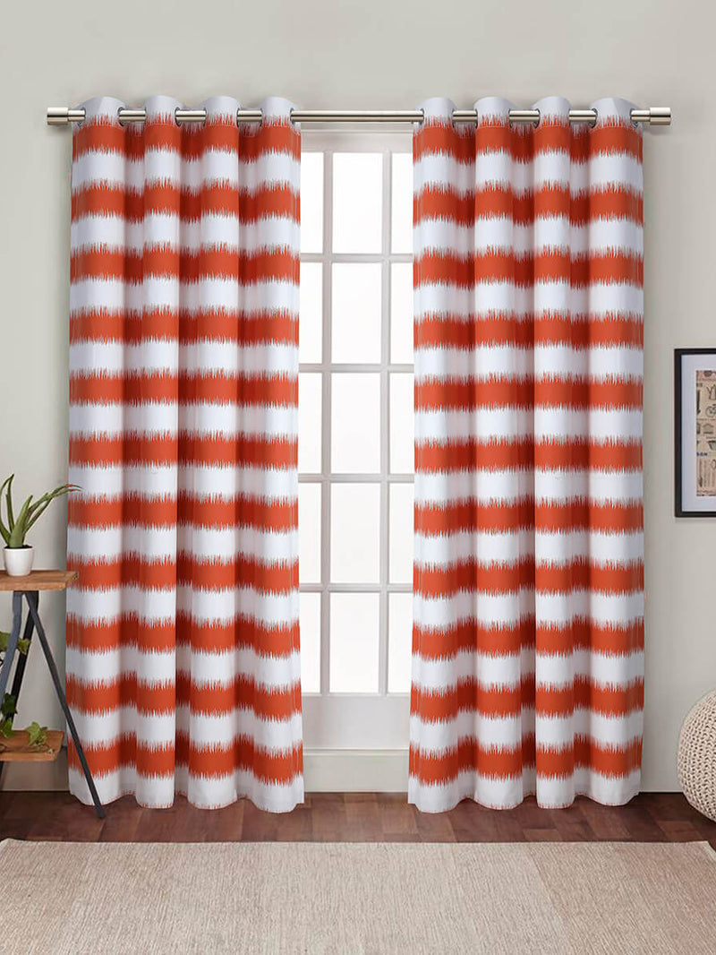 DUCK CURTAIN WITH LINING PAIR-ORANGE