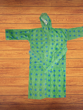 BATHROBE 4-6 YEARS-GREEN DOTS - PRIMAL