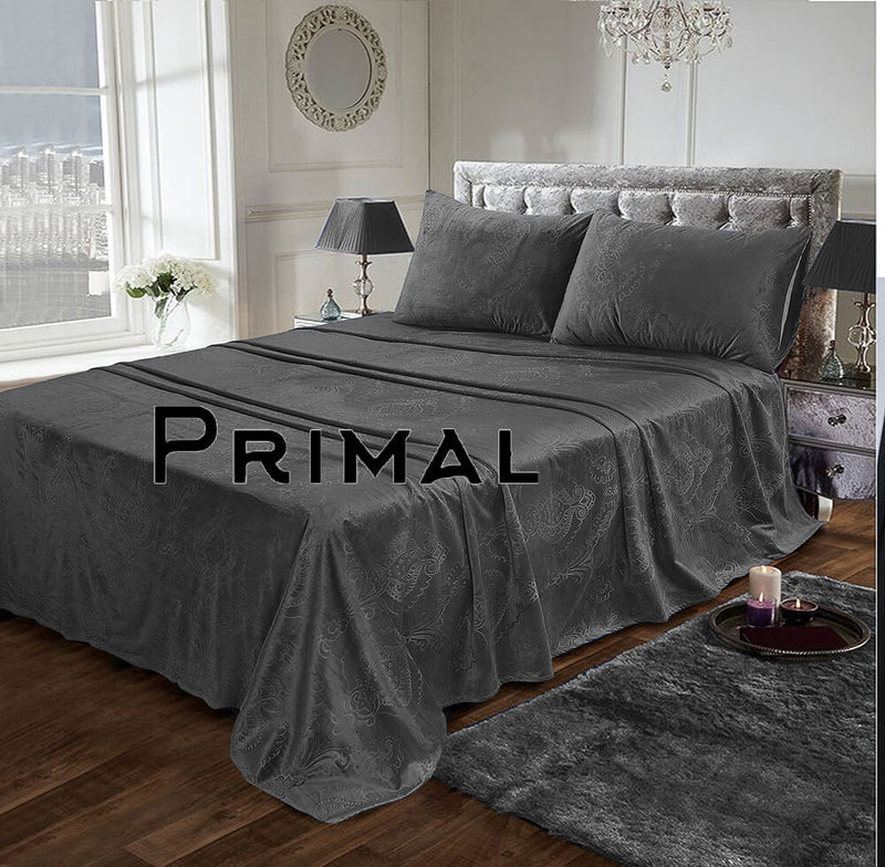 LUXURY VELVET BED SHEET 3PCS-GREY