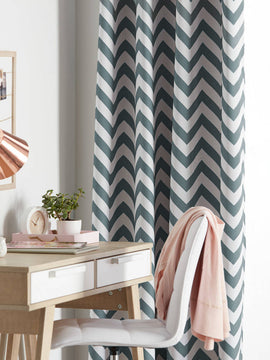 DUCK CURTAIN WITH LINING 1 PANEL-ZIG ZAG INDIGO - PRIMAL