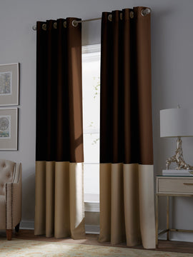 PREMIUM VELVET CURTAINS PAIR-BROWN AND BEIGE