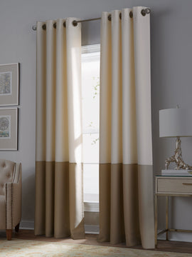 PREMIUM VELVET CURTAINS PAIR-IVORY AND BEIGE