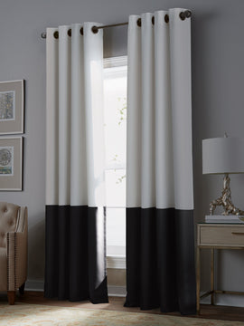 PREMIUM VELVET CURTAINS PAIR- WHITE AND BLACK