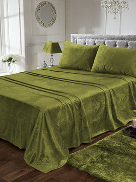 LUXURY VELVET BED SHEET 3PCS-OLIVE