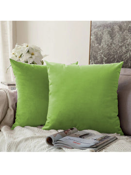 LUXURY VELVET CUSHIONS PACK OF 2-PARROT GREEN