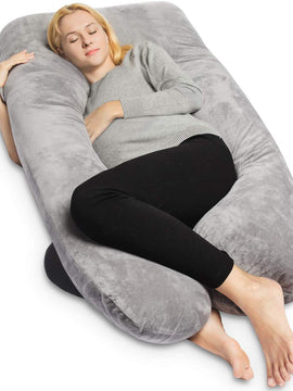 VELVET PREGNANCY PILLOW FULL BODY SUPPORT-GREY