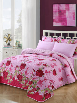 COMFORTER BEDSPREAD 6PCS- PINK WITH FREE 1 EXTRA BED SHEET
